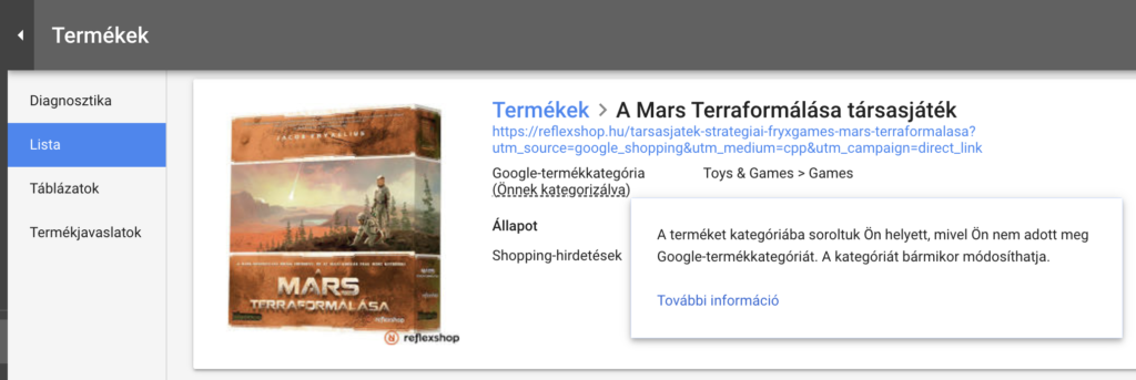 Google Shopping product category